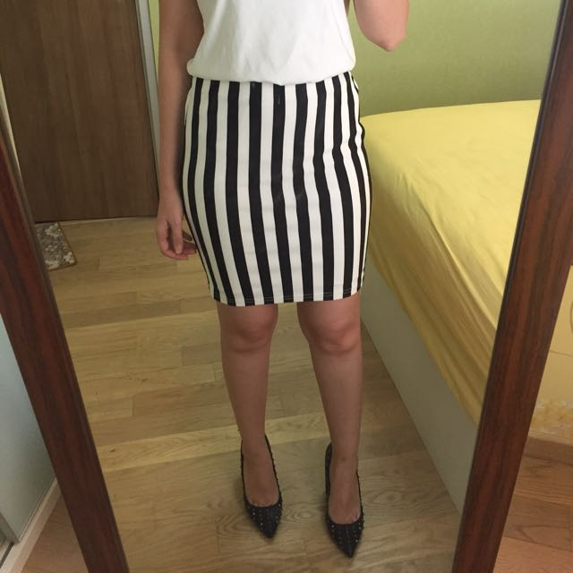 Bandage Stripe Skirt