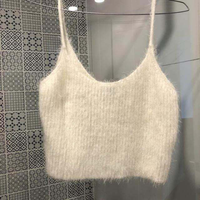 Bardot white fluffy top