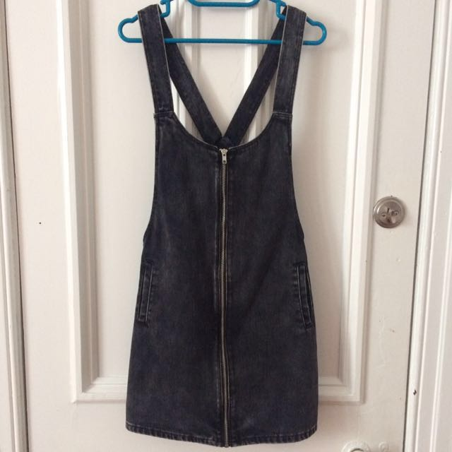 Black denim overall dress
