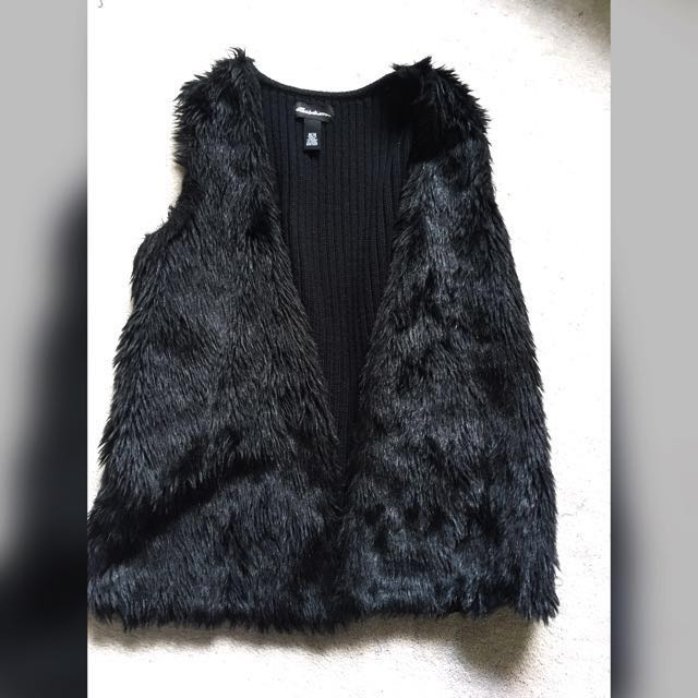Black Fur Vest size M