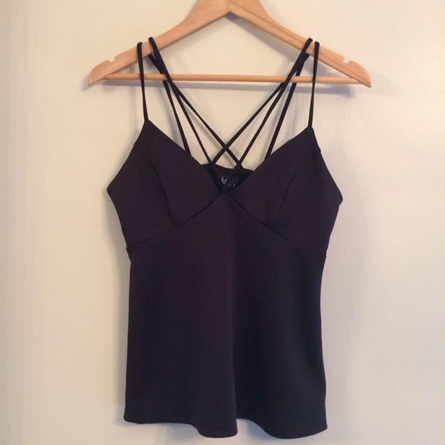Black strappy top v-neck