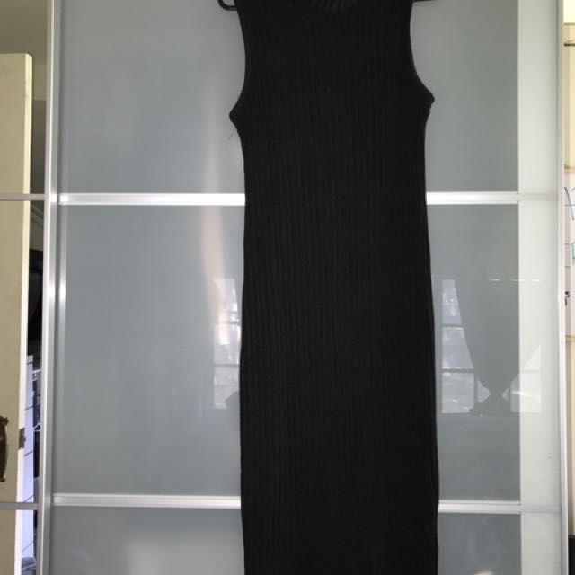 Black turtle neck dress.