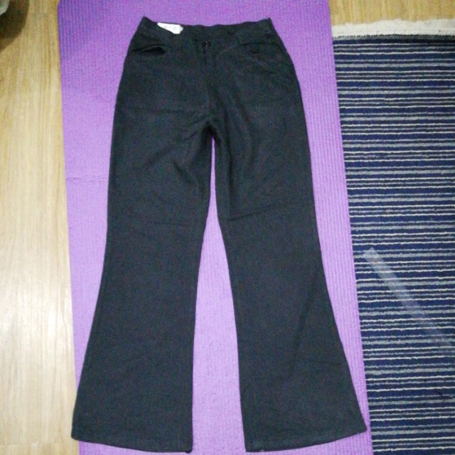 Black wide bootleg high waist  slacks