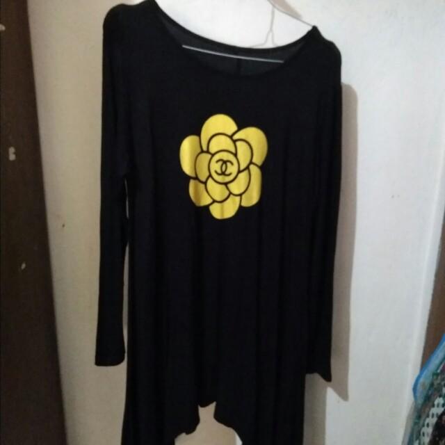 Blouse wanita bunga hitam