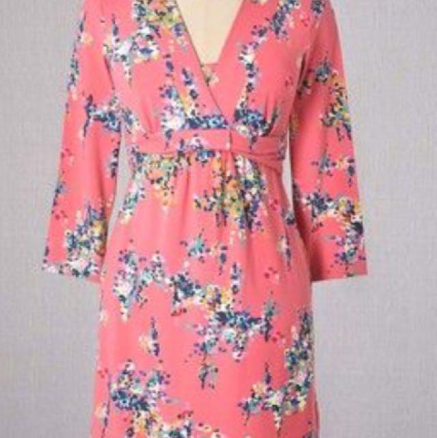 Boden floral jersey dress size 4 pink