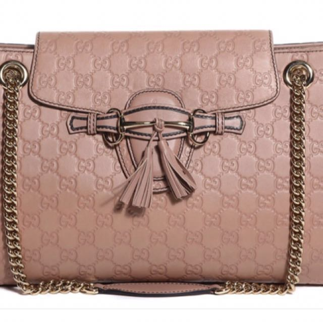 32c5f6d2f6ac BRAND NEW GUCCI Guccissima Large Emily Chain Shoulder Bag Rose Beige ...