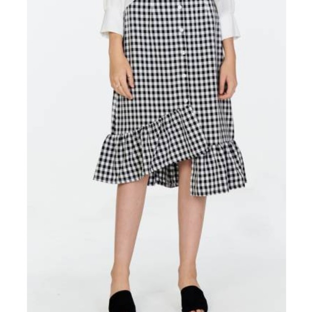 198034830 BRAND NEW> Velle Ruffled Gingham Midi Skirt in Black, Women's ...