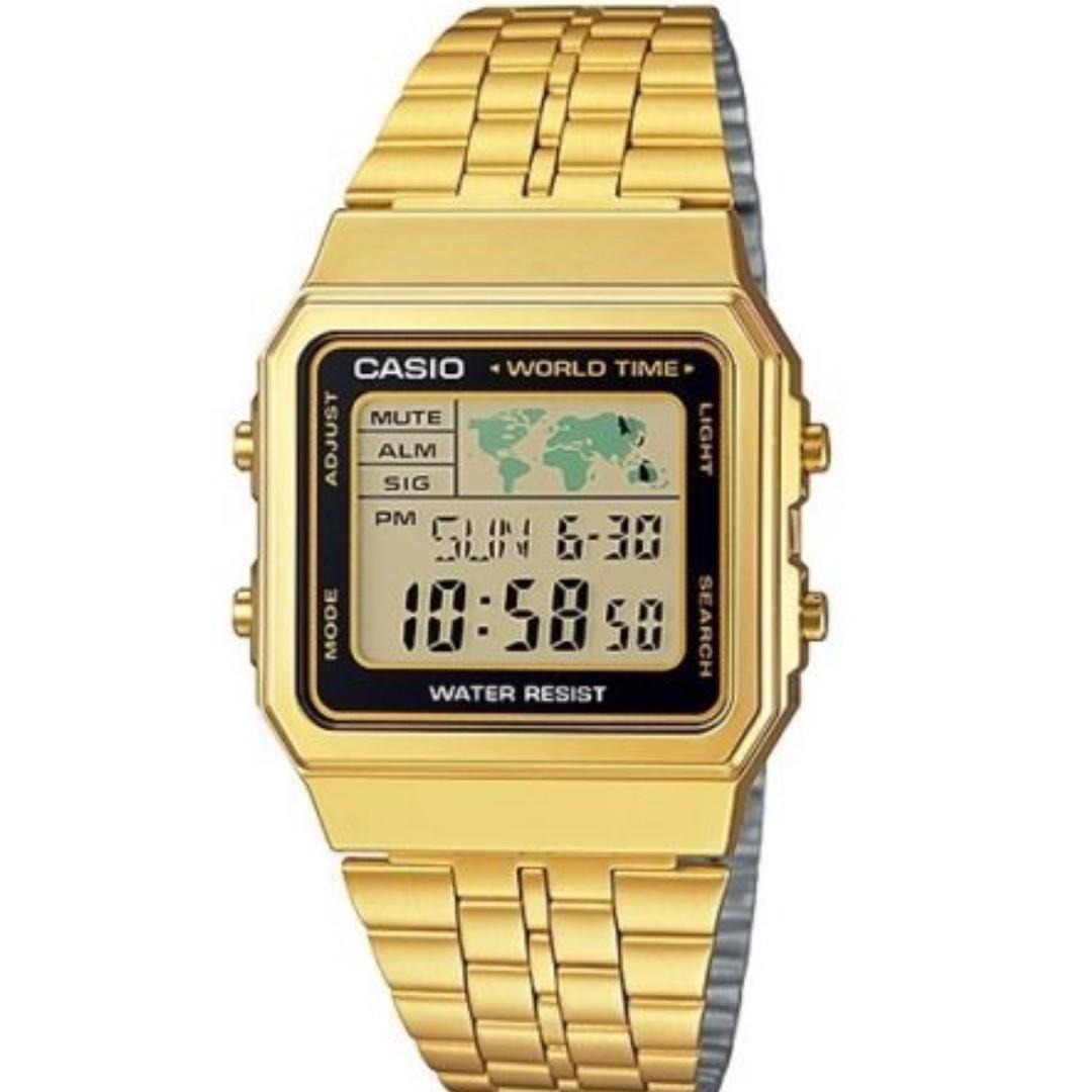 Casio watch a500wga 1 vintage illuminator world map gold steel photo photo photo photo gumiabroncs Images