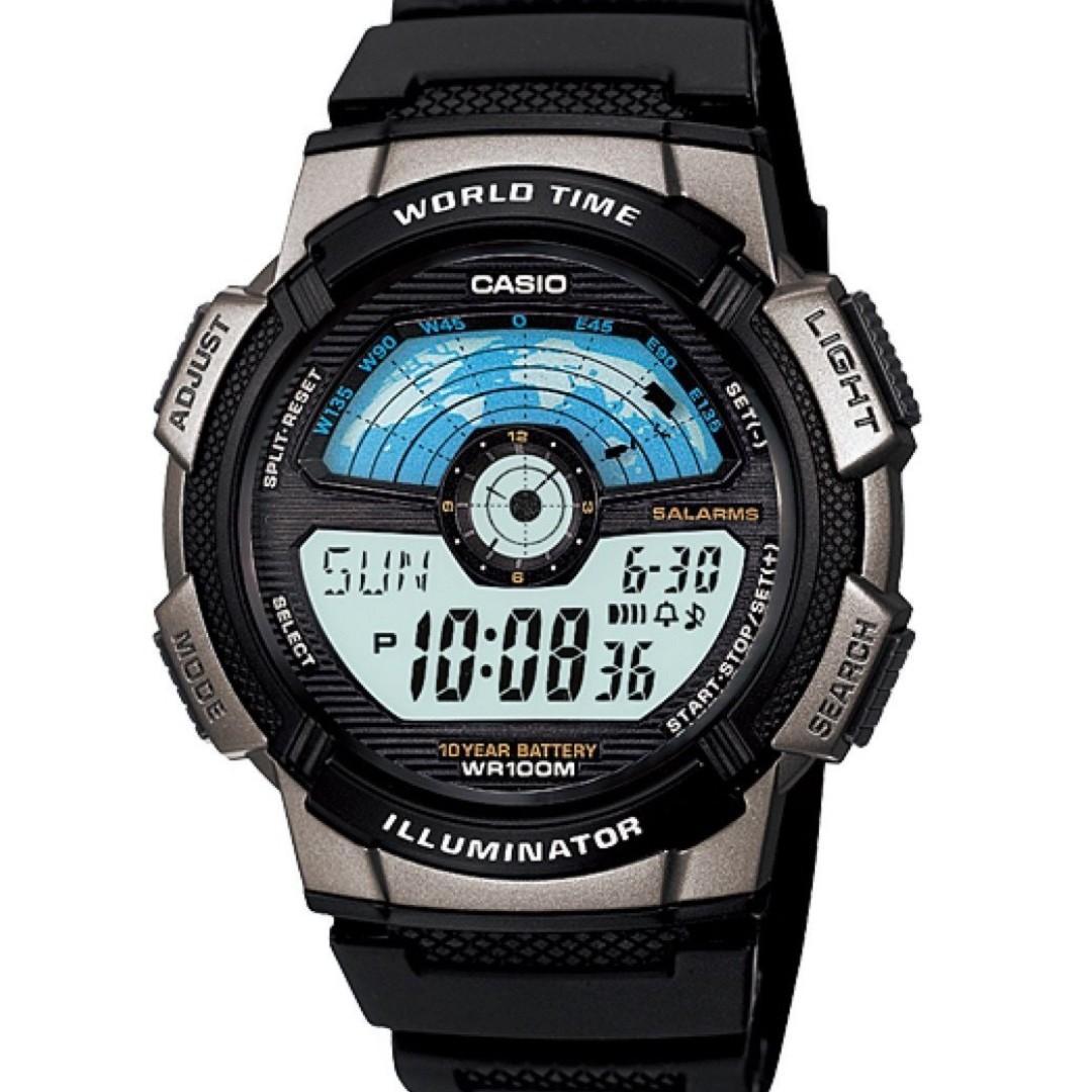 Casio World Map Watch.Casio Watch Ae1100w 1av World Map Black Silicone Luxury Watches