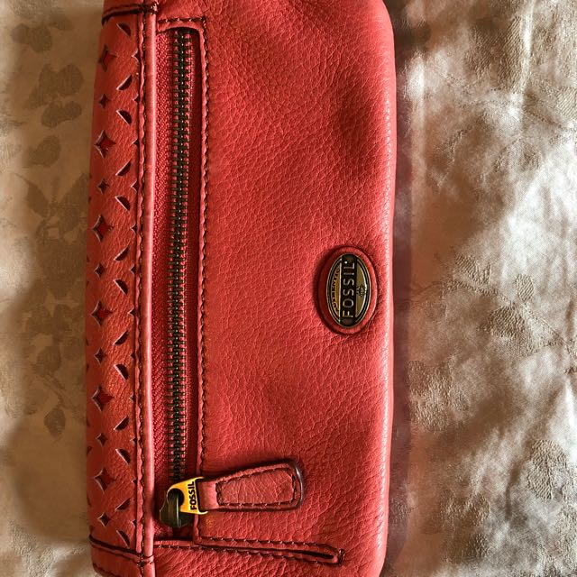 Coral Leather Fossil Wallet