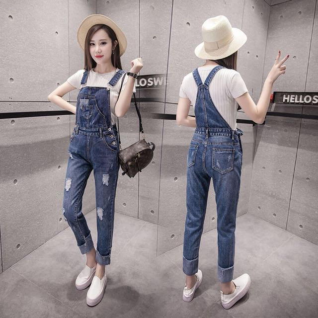 443a2c982a Denim Blue Coloured Bib With Cross Back Designed Ripped Overall ...