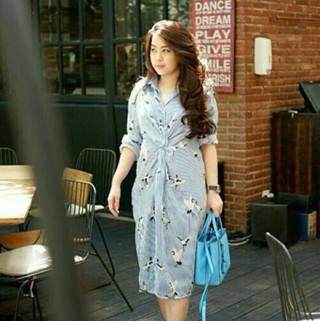 Dress Basic With Blue Stripe