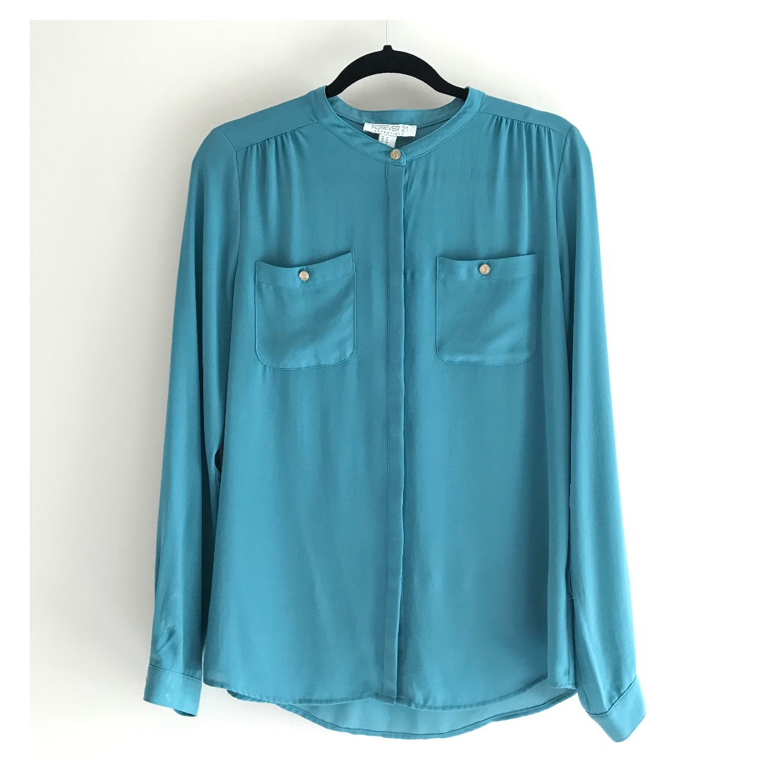 F21 blouse with gold detail