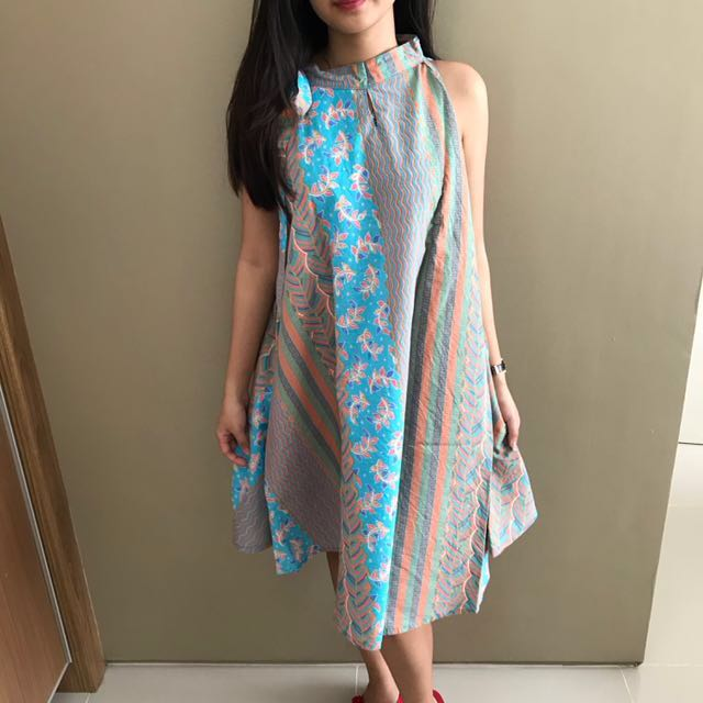 Floral Blue Modern Batik Dress