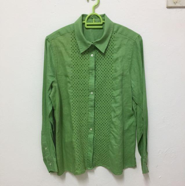 Green Linen Shirt XL