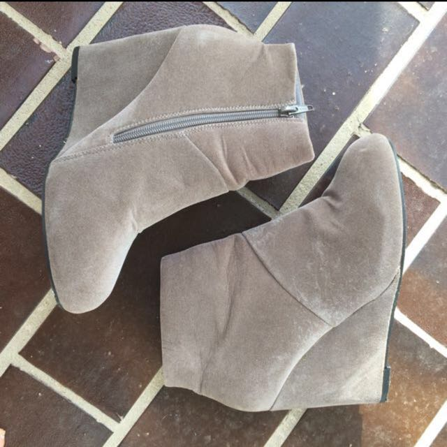 Grey Suede Wedge Boots