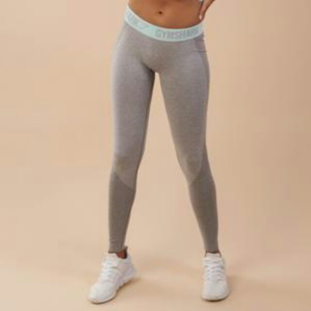 01fa36cd7bc37 Gymshark flex leggings (light grey marl/pale turquoise), Women's ...