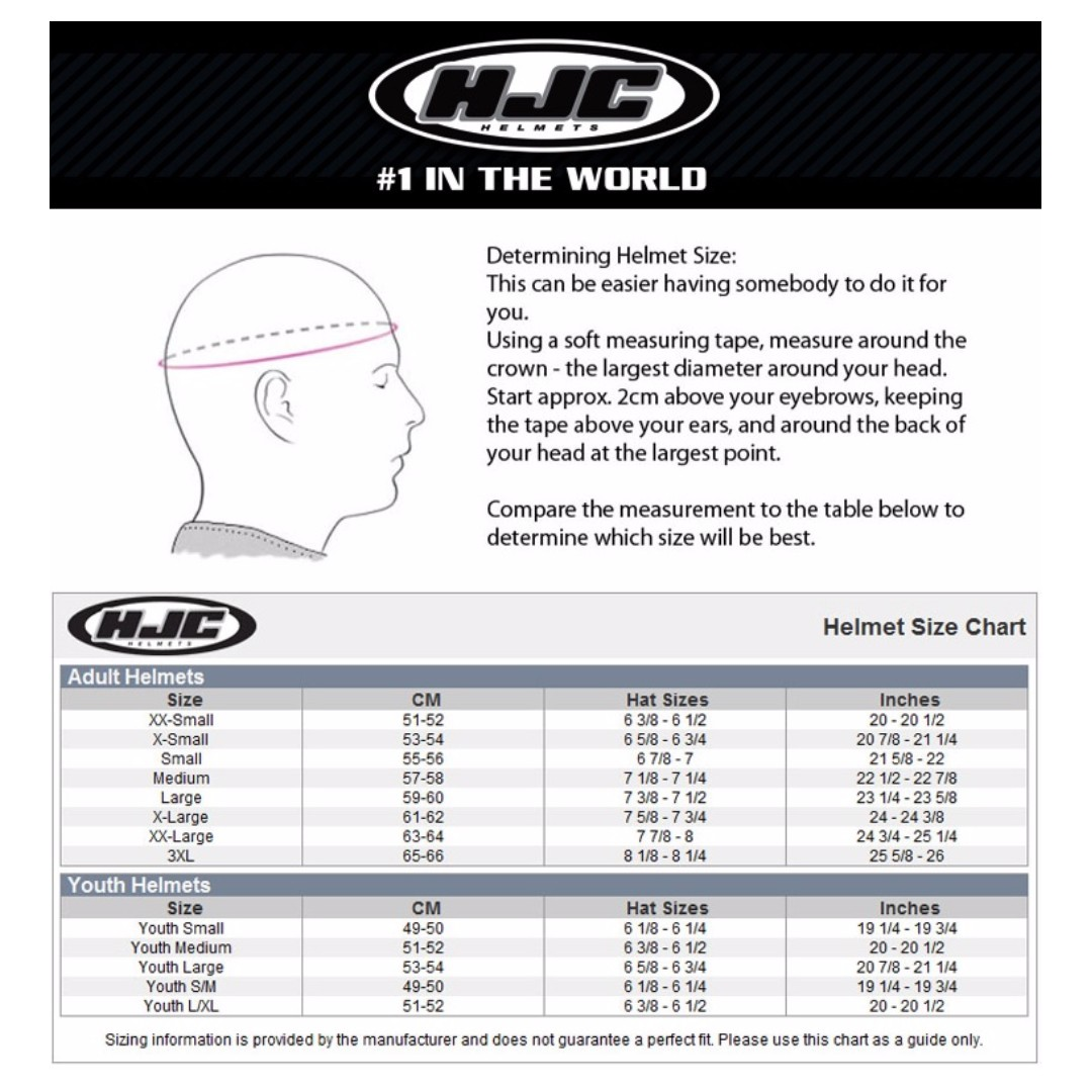 Hjc full face helmet size chart queen s university belfast