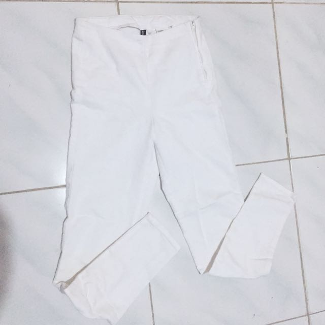 H&M white highwaist pants