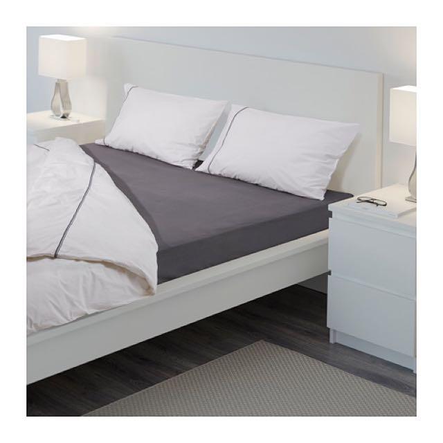 IKEA 全新雙人加大床包(灰)