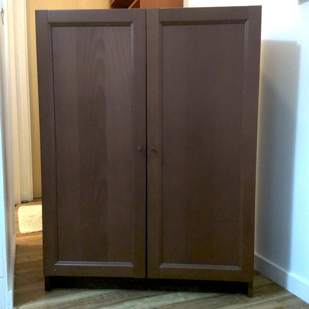Ikea Short Billy Bookcase With Wooden Doors