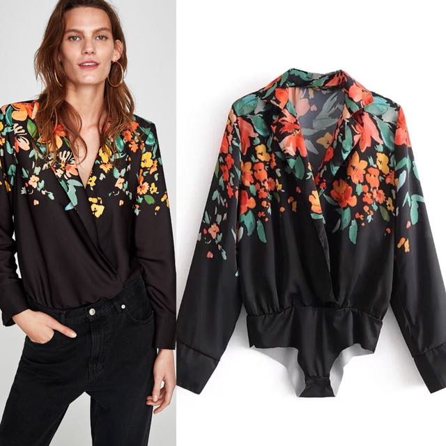 fe9bf70c Inspired Zara Bodysuit With Lapel Collar Floral prints, Women's ...