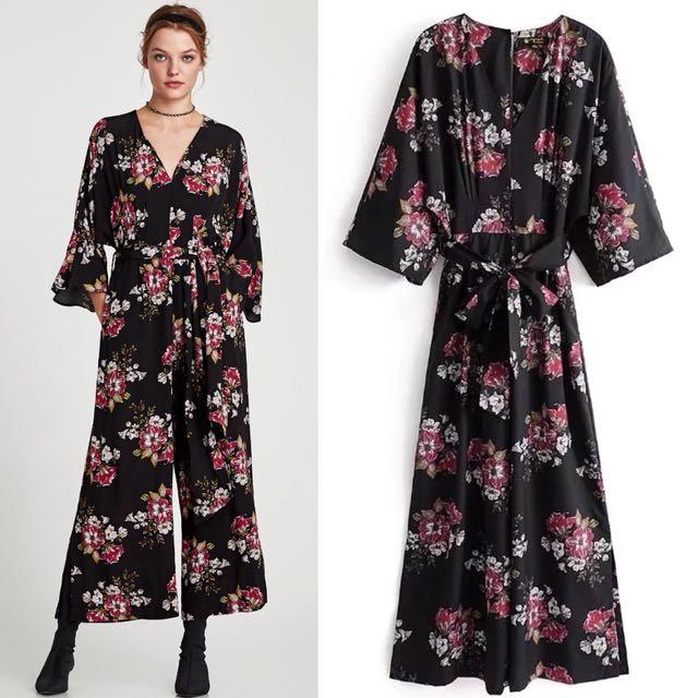 cd71c3533a09 💃🏼Inspired Zara Floral Jumpsuit V Neck Loose fitting Sleeves ...