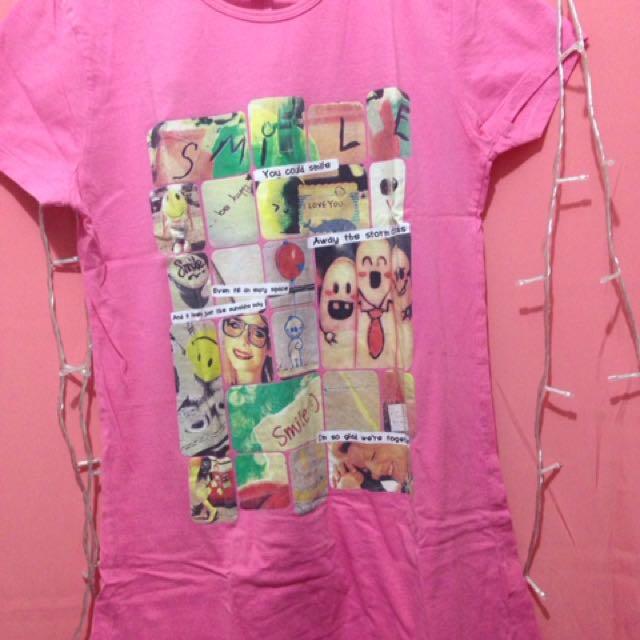 Kaos Cantik Smile Pink Super T Shirt