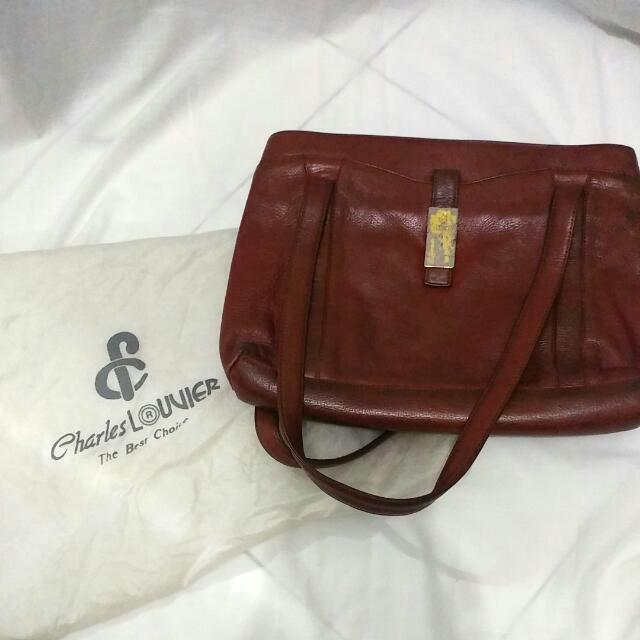 Leather Tote Bag - Charles Louvier Authentic