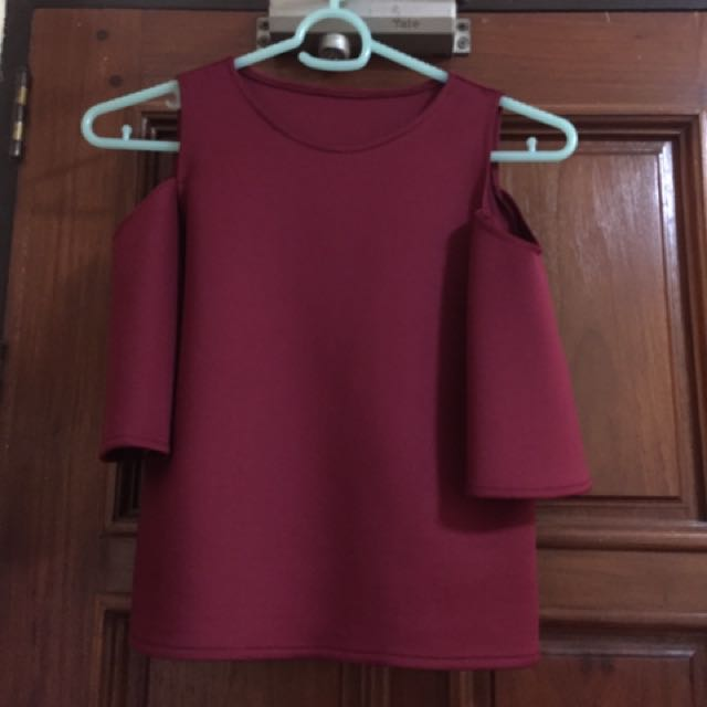 Maroon off shoulders with sleeves