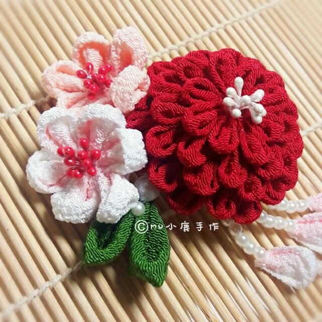 【mu小鹿手作】浴衣/和服 日本縐布縮緬和風布花髮飾 (百日草/紅)