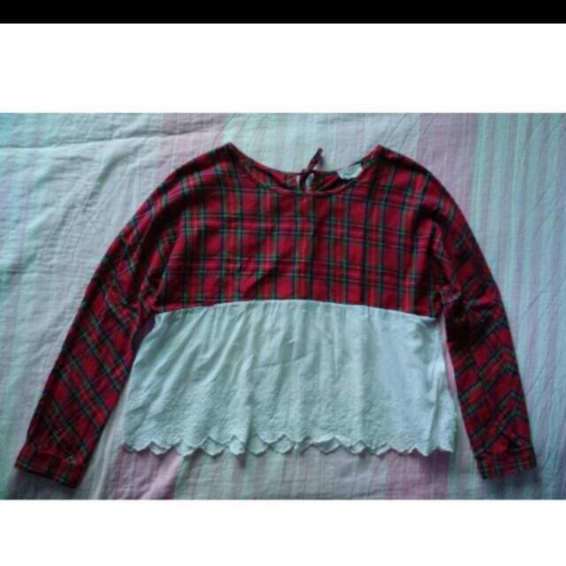 Checkered long sleeves top