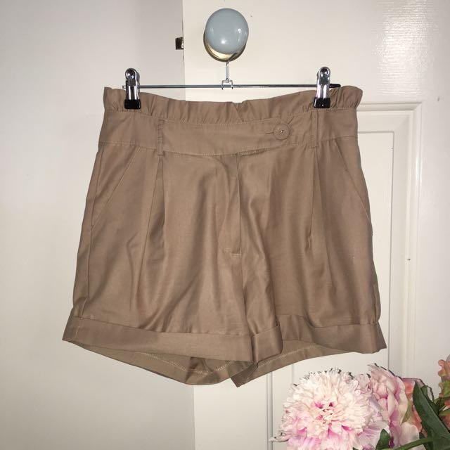 Nude Paper Bag Shorts