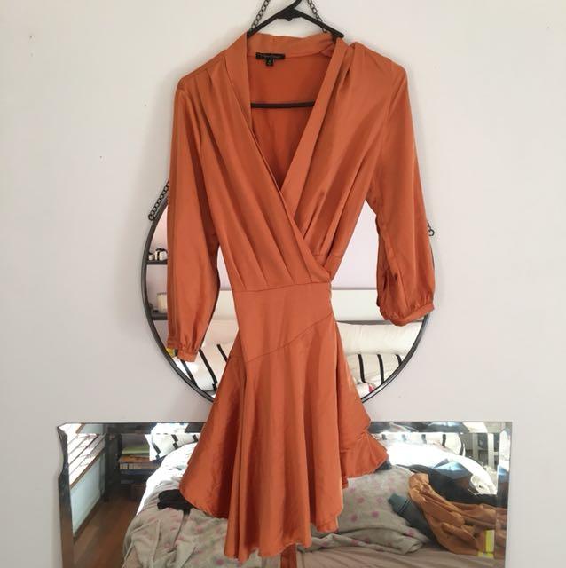 Orange silk wrap dress