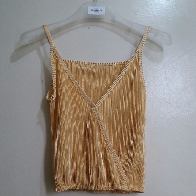 Pleated V Neck Cami Top Gold