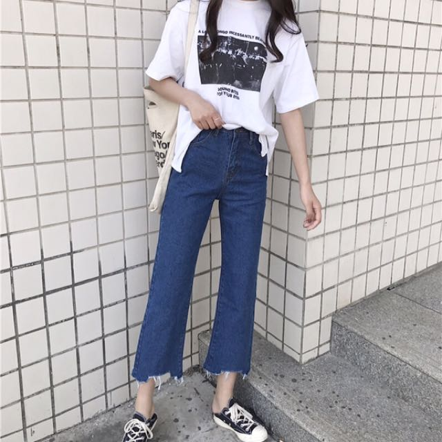 (PO) Highwaist Wideleg Irregular Jeans