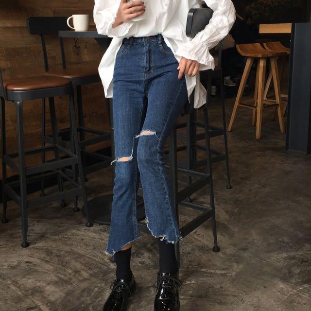 (PO) Ripped Irregular Highwaist Flare Jeans