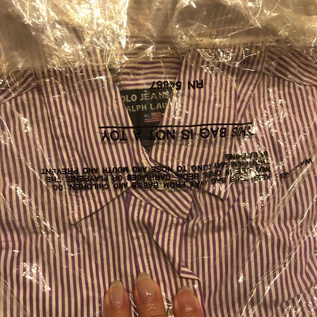 Polo jeans Ralph Lauren 紫白直條紋襯衫 M