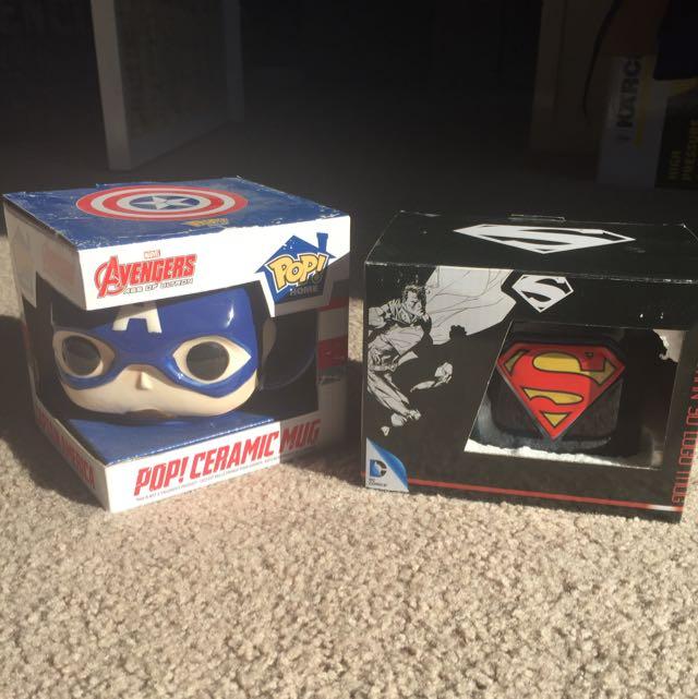 Pop! Marvel Ceramic Captain America Avengers Mug And Superman Dc Comics Mug