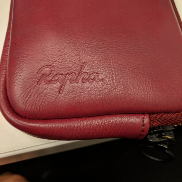 Rapha raspberry leather wallet