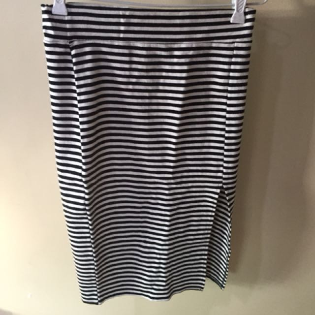 Stripe Pencil Skirt with Slit