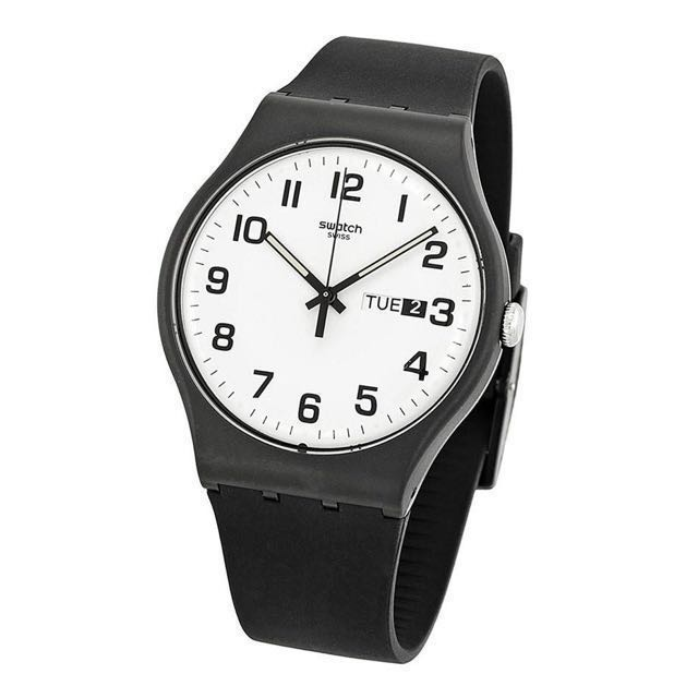 date quartz day amazon watches plastic black swatch s men watch and dial com pin