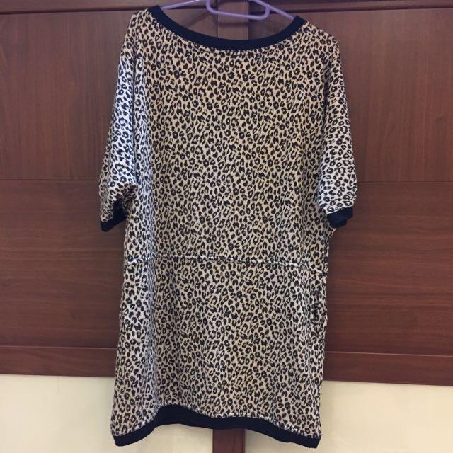 豹紋棉t長版上衣洋裝