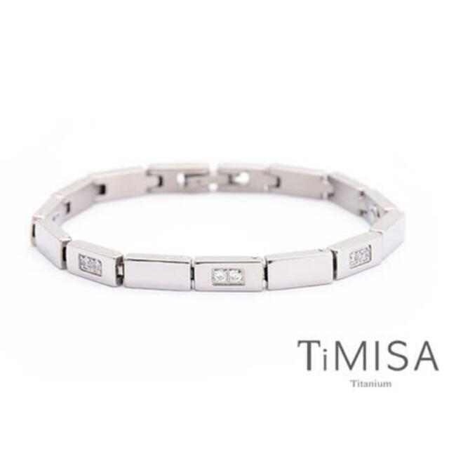 【TiMISA 純鈦飾品】陽光森林 晶鑽版純鈦鍺手鍊 飾品