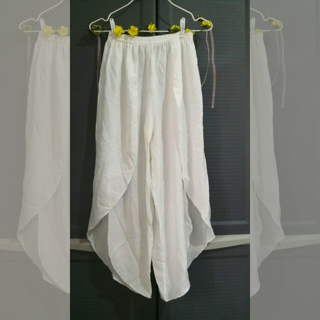 White Beach Pants with Slits