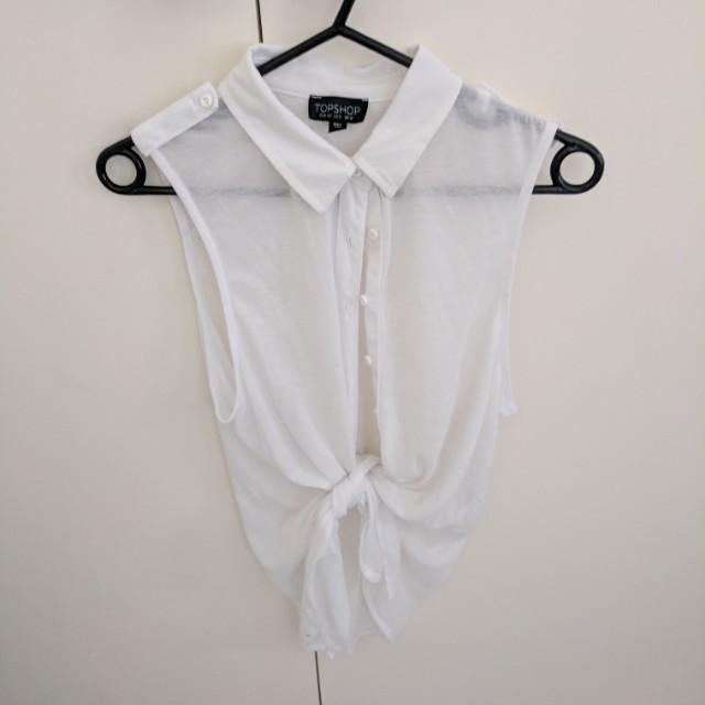 White top shop tie up shirt