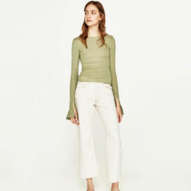Zara Green Bell-Sleeved Top