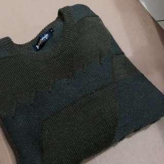古著 復古 毛衣 綠 幾何