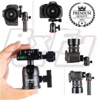 BH28 Camera Tripod Ball Head Aluminum Alloy Ballhead Panoramic Head Sliding Rail Head With Quick Release Plate with 2 Built-in Spirit Levels