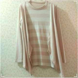 彈性 寬鬆 粉紅白線條 假兩件式 尼龍 洋裝